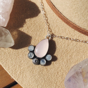 Rose Quartz and Moonstone Flower Necklace