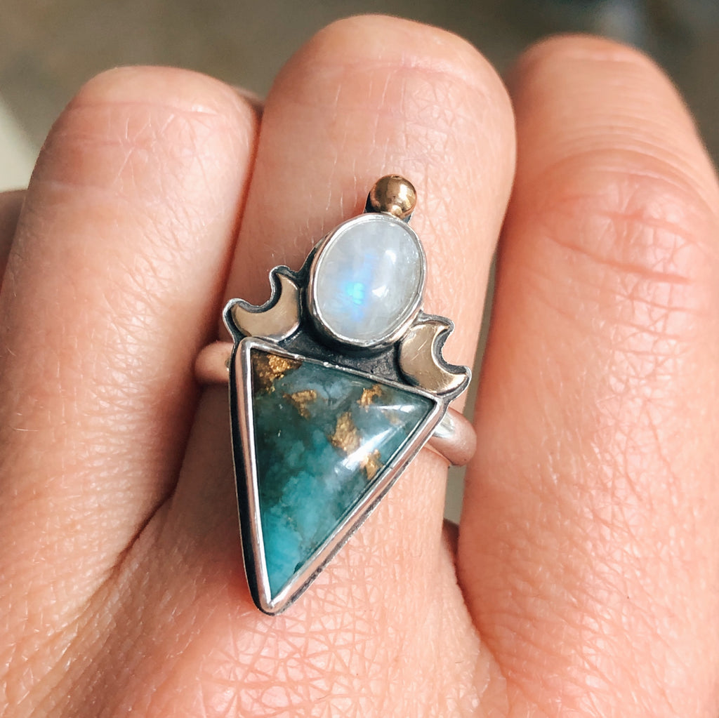 Aquavita & Moonstone Crescent Ring - Size 8