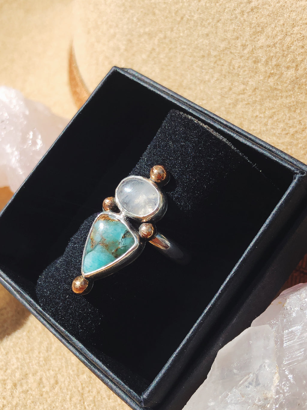 Aquavita & Moonstone Ball Ring - Size 6