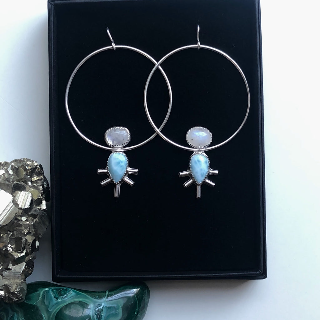 Larimar and Moonstone Starburst Hoop Earrings