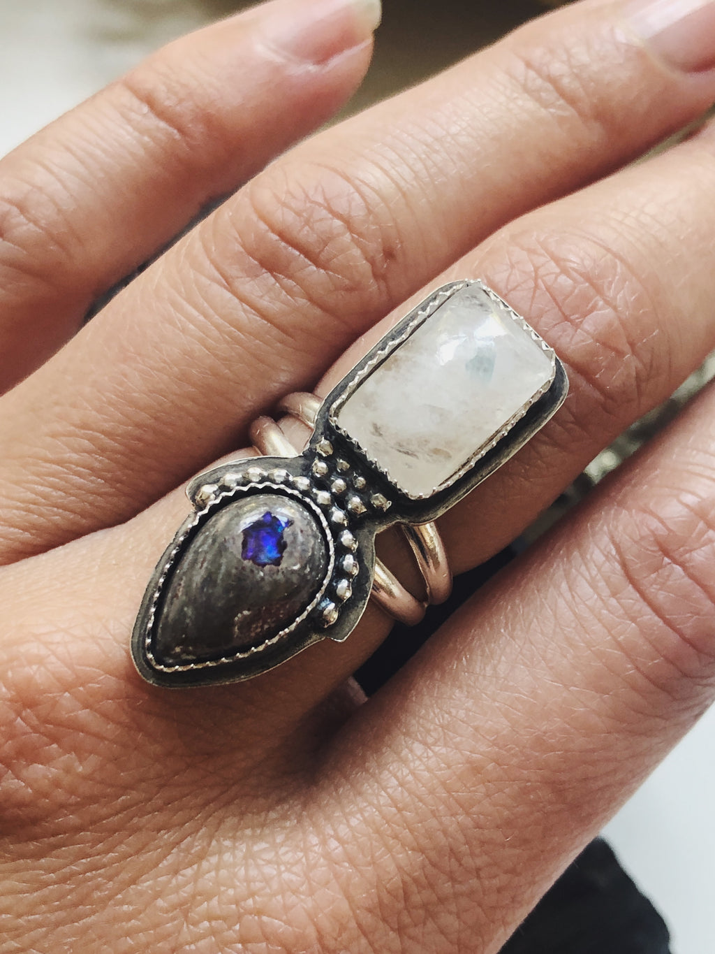 Double Stone Ring - Moonstone and Fire Opal Ring
