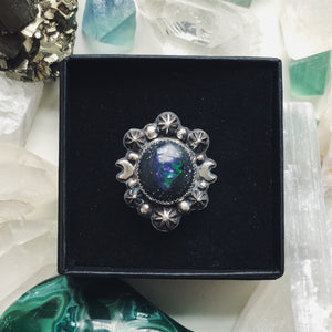 Night Gaze Galaxy Opal Ring - Size 6
