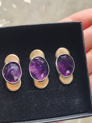 Rose Cut Amethyst Crescent Rings - Made to Order
