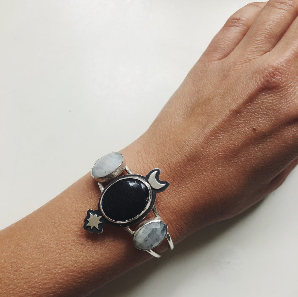 Moonstone and Black Pyrite Cuff