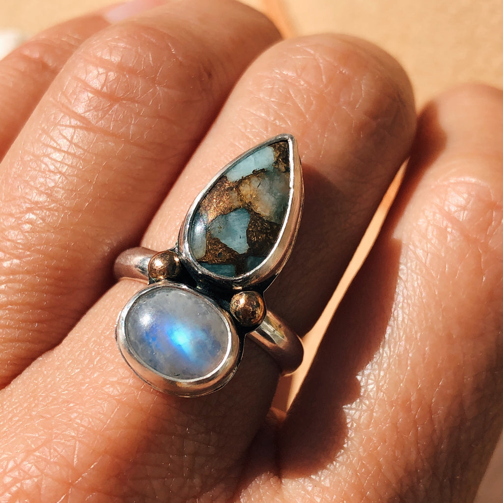 Aquavita & Moonstone Ball Ring - Size 7
