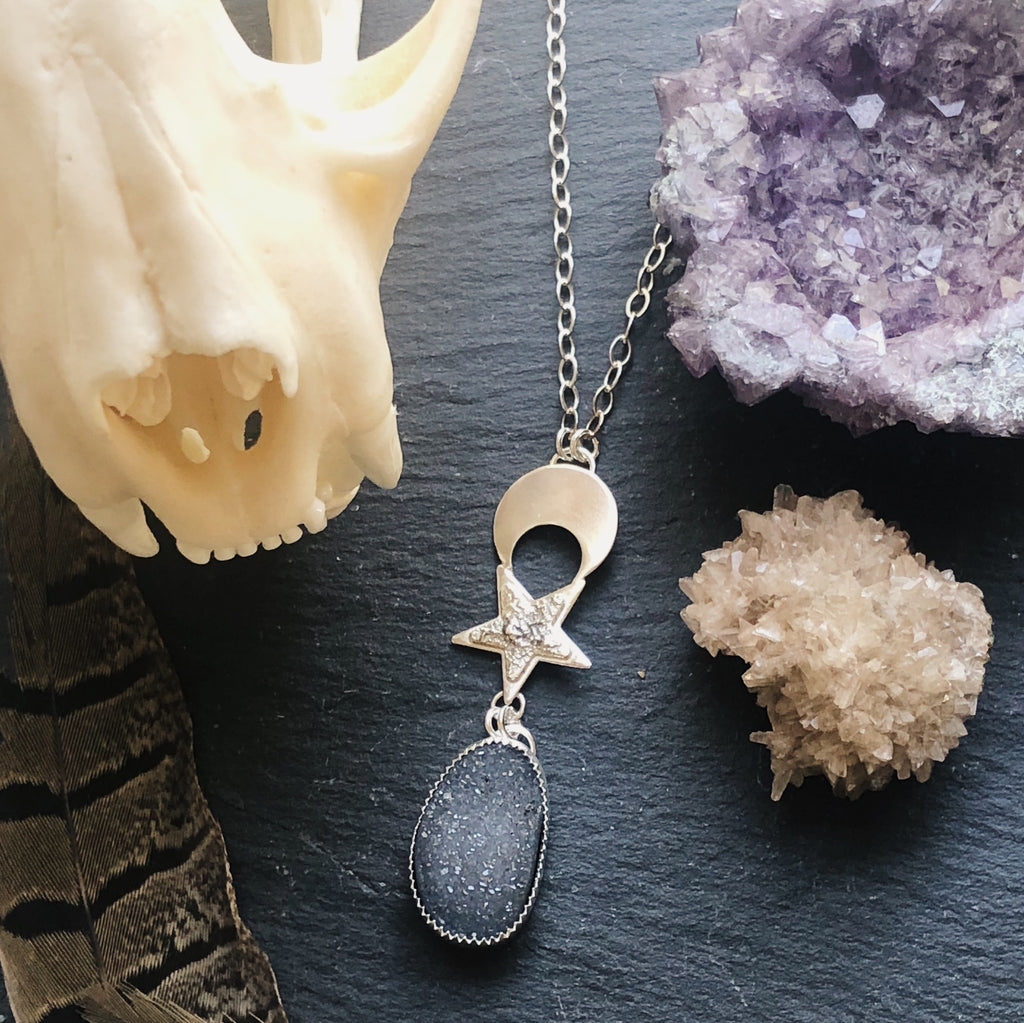 My Moon & Stars Druzy Necklace