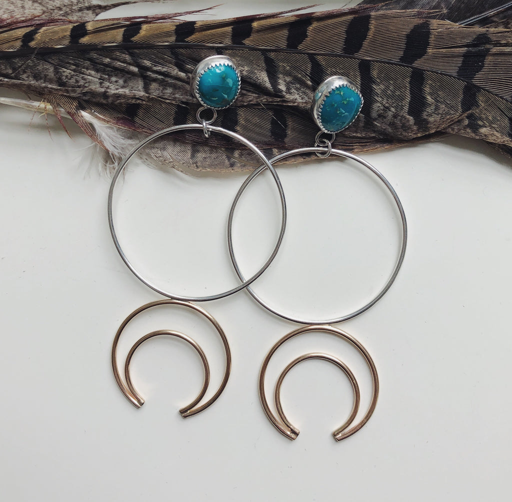 Turquoise Crescent Hoops