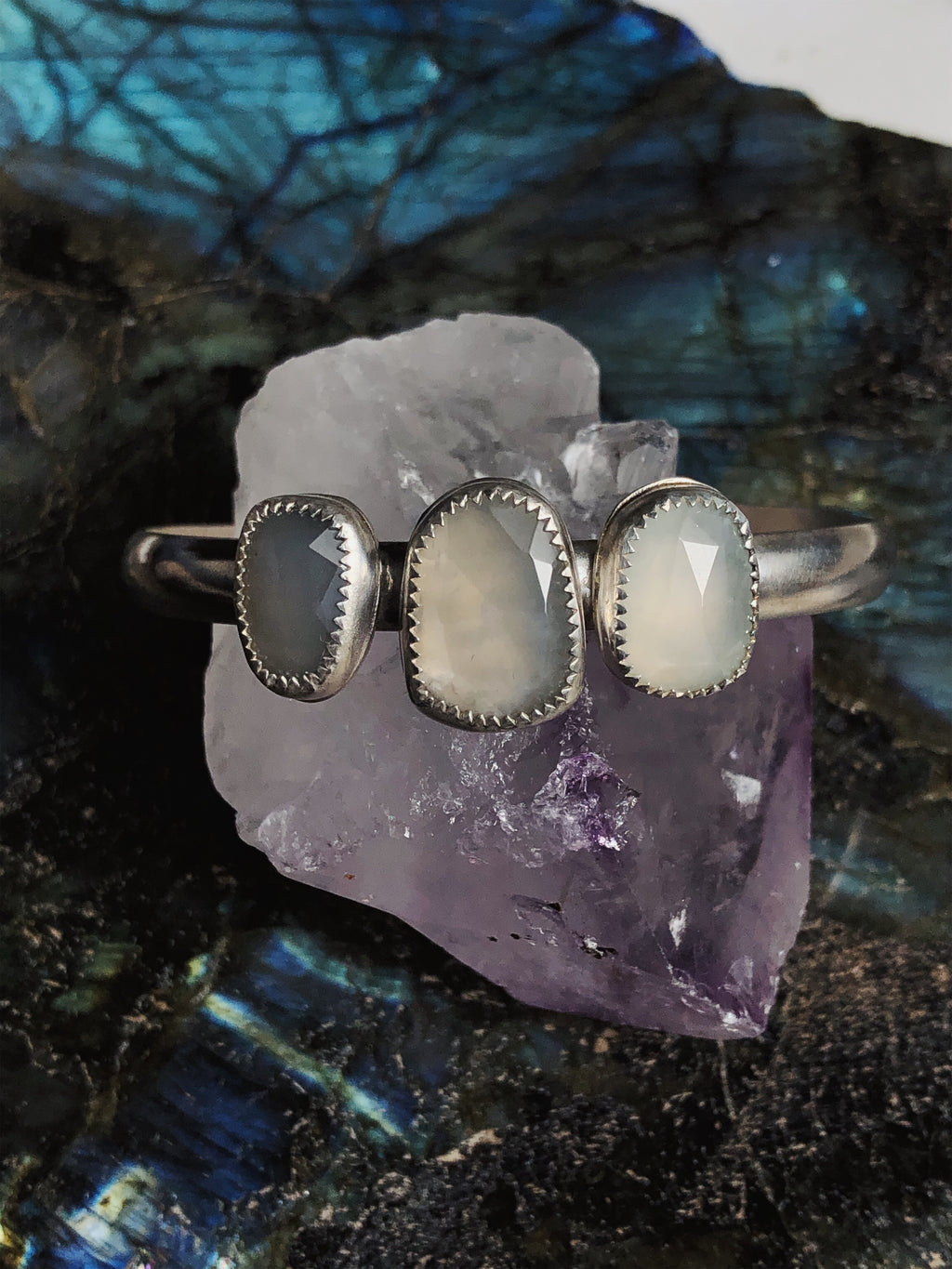 Morning Light Triple Moonstone Cuff