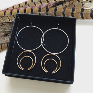 Mixed Metal Crescent Hoops