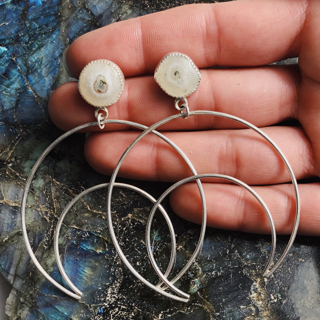 Solar Quartz Crescent Hoops
