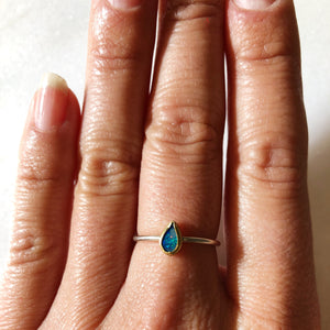 Australian Opal | Gold and Silver Ring | Size 6