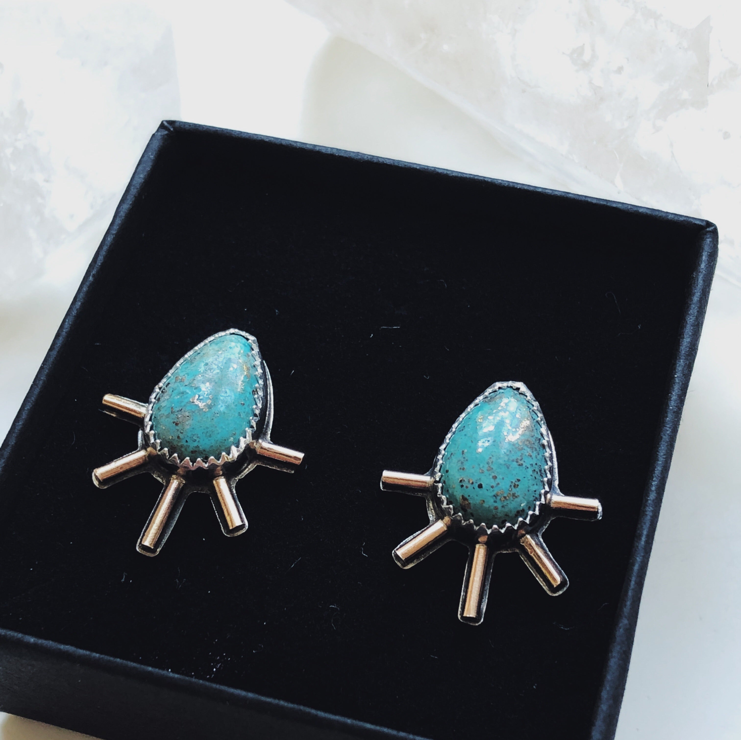 Turquoise Silver and Gold Starburst Studs