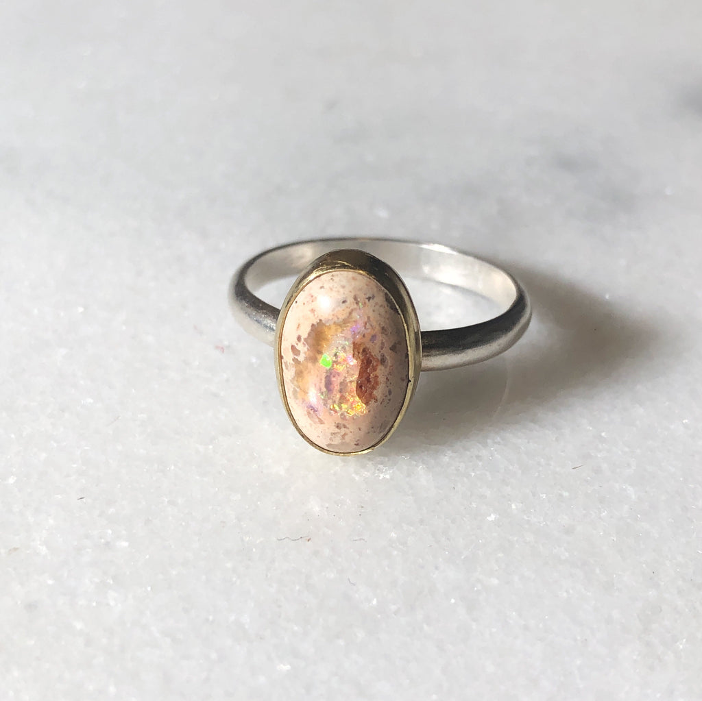 Mexican Fire Opal | Gold and Silver Ring | Size 7