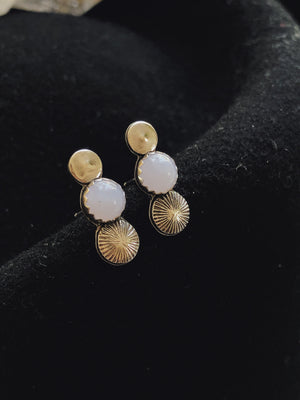 Stamped Silver Studs - Chalcedony