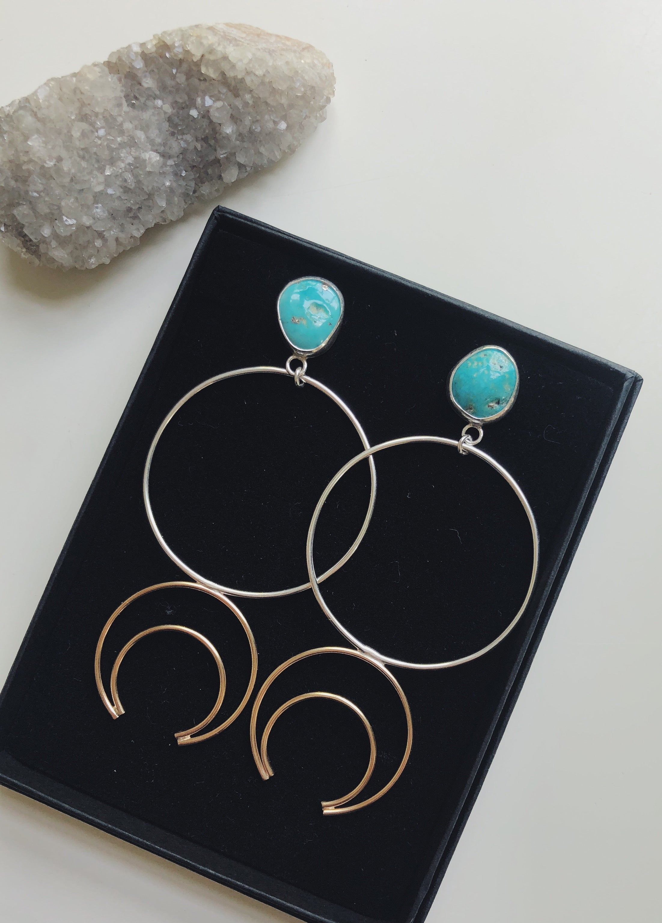 Whitewater Turquoise Crescent Hoops