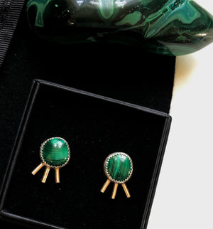 Malachite Silver and Gold Starburst Studs