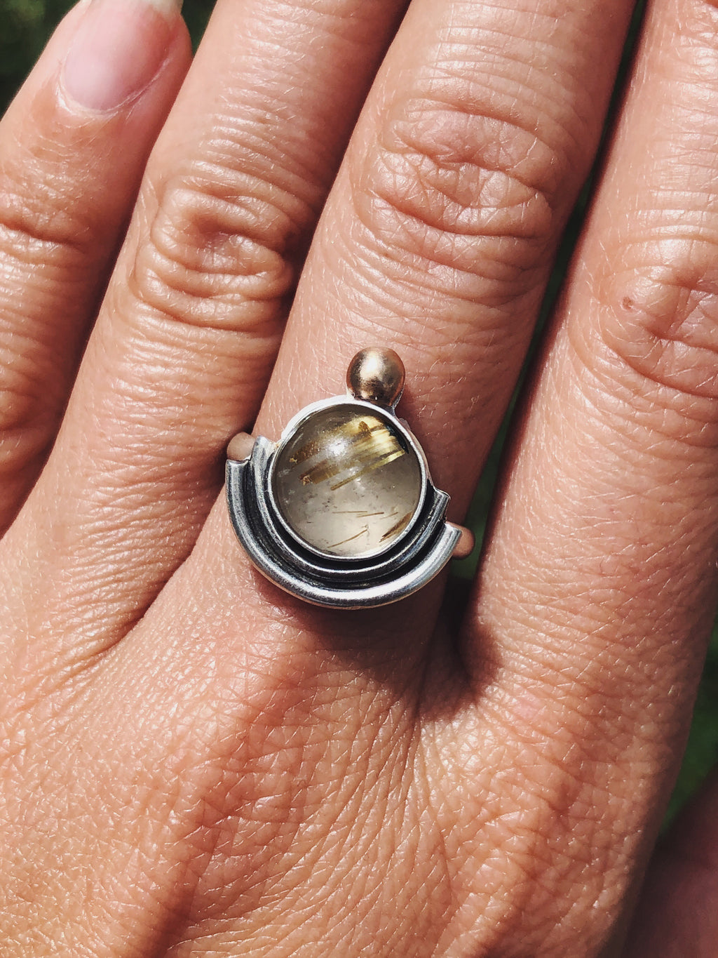 Golden Rutilated Quartz Ripple Ring