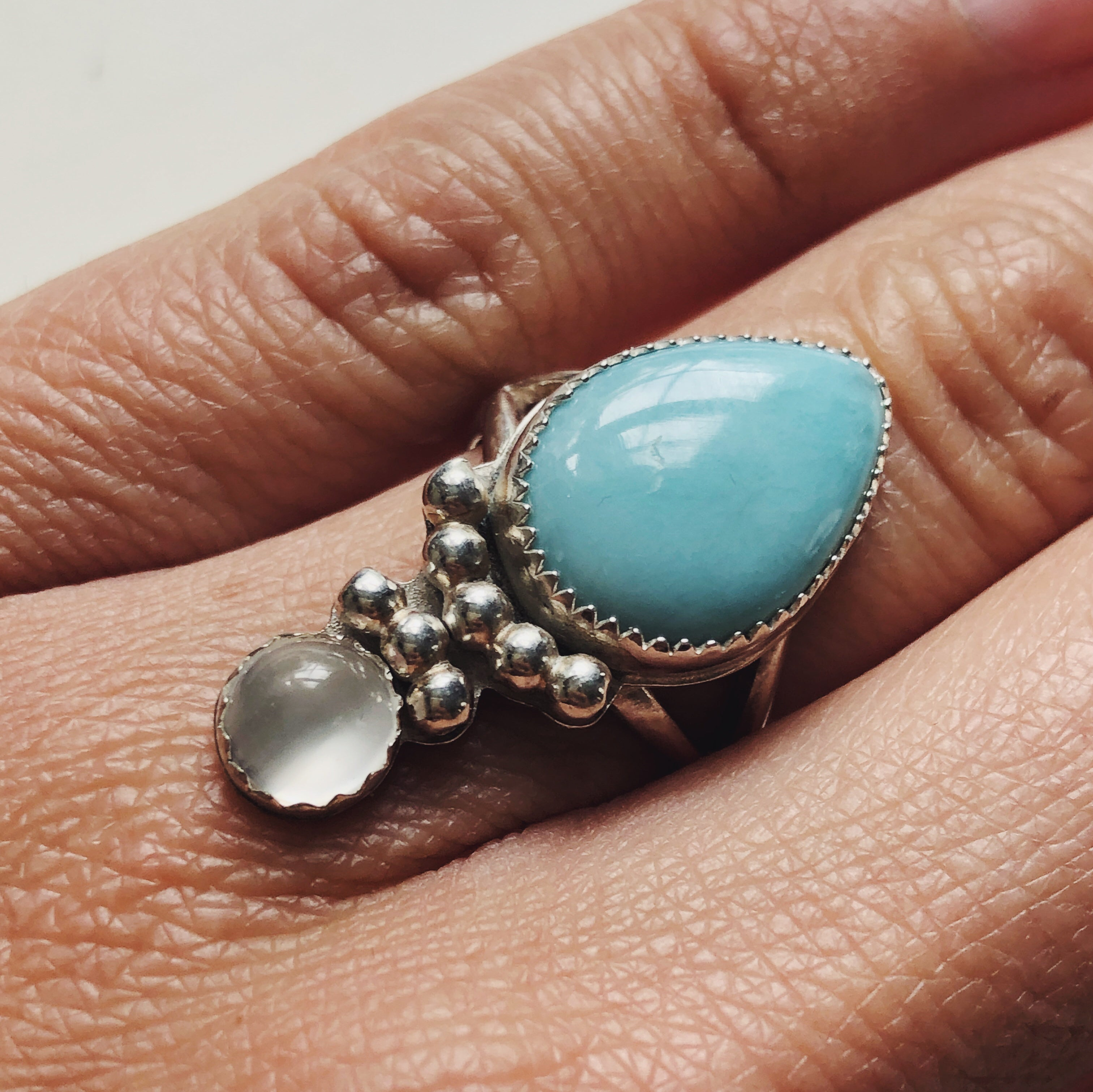 Larimar and Moonstone Ring - Size 5.5