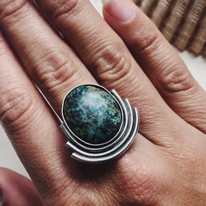 Speckled Hubei Turquoise Ripple Cuff/Ring - Made to Order