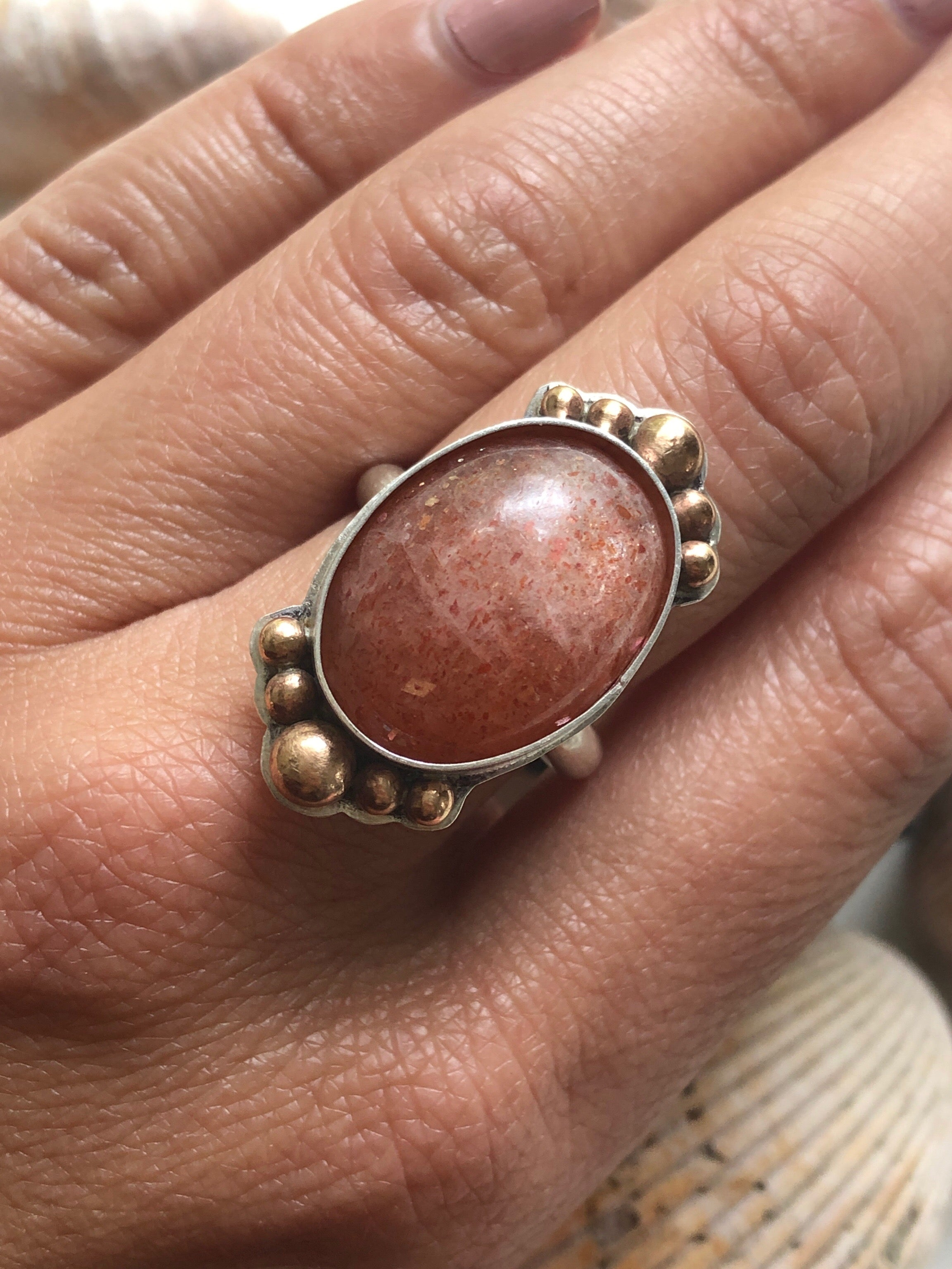 Sunstone and Bronze Ring