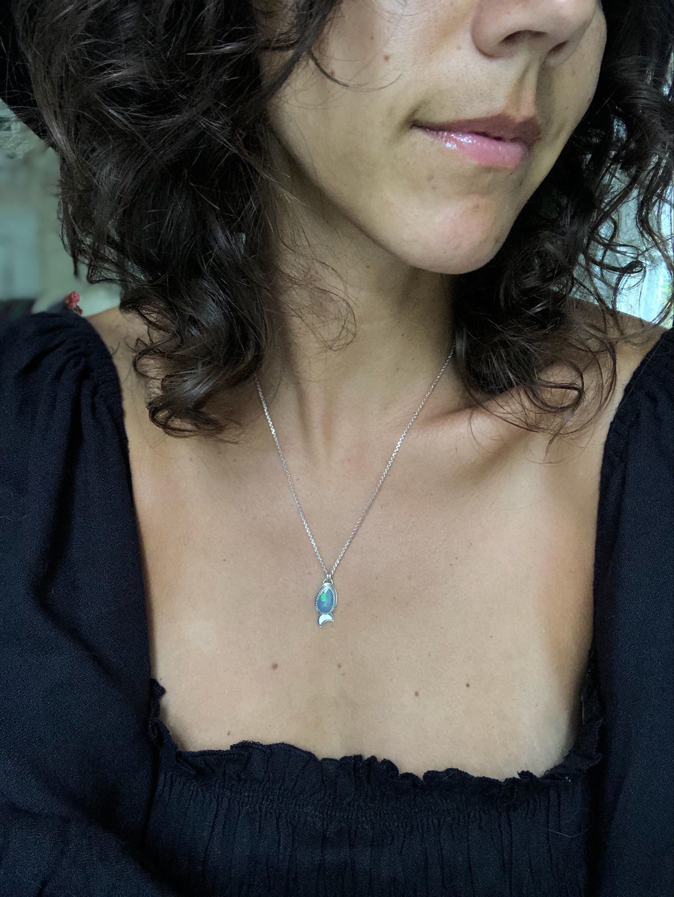 Silver Opal Moondrop Necklace I