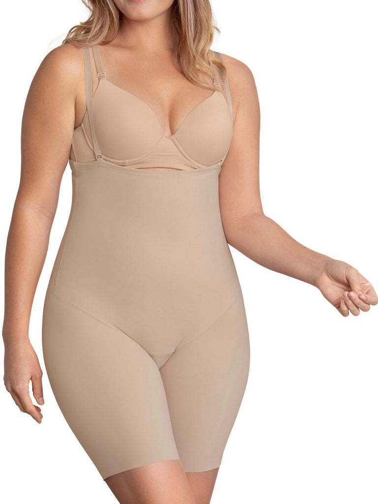Leonisa Strapless Mid Thigh Body Shaper with Moderate Compression