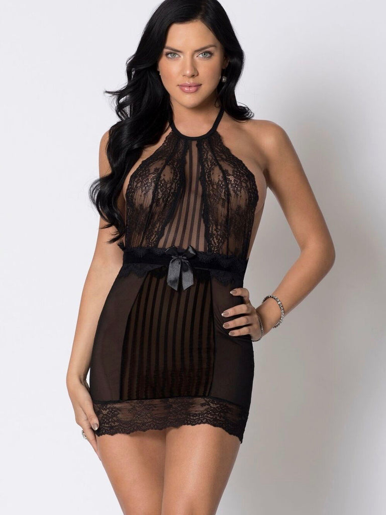 HALTER MESH AND LACE CHEMISE