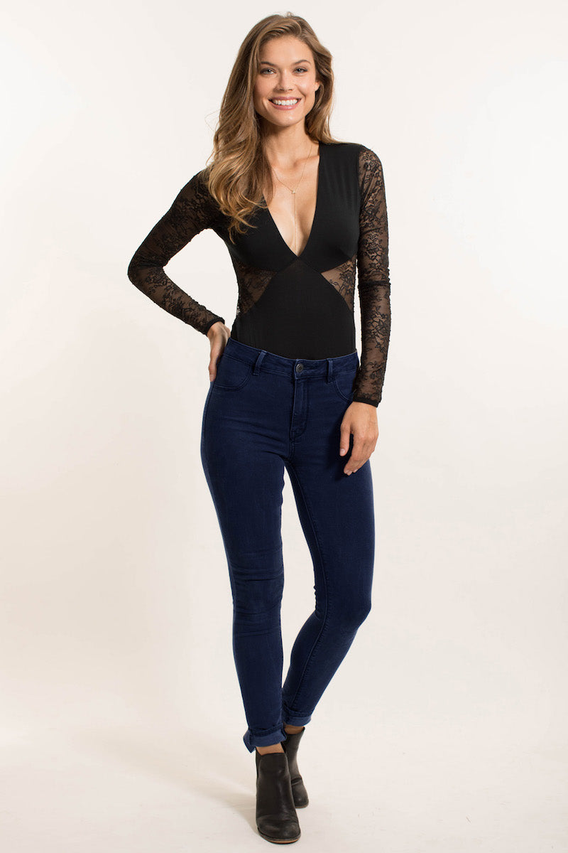 Long Sleeve Lace Bodysuit - Giapenta Wynwood Lace Plunge Bodysuit