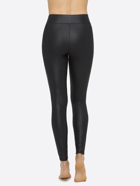 Yummie Dressy Velvet and Shine Black Moto Legging