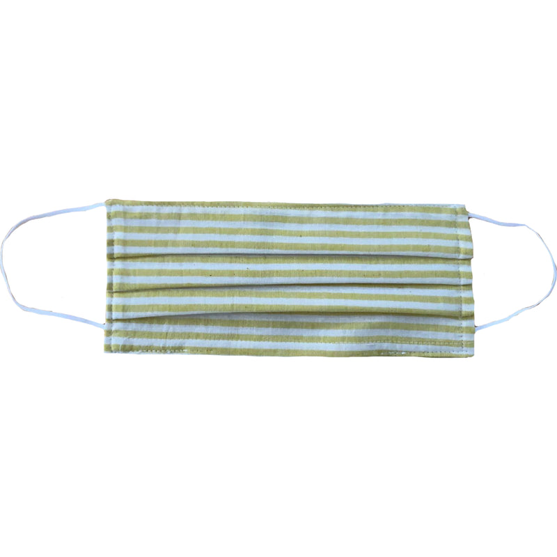 MASK ORGANIC COTTON - WHITE & YELLOW STRIPES (PLEATED)