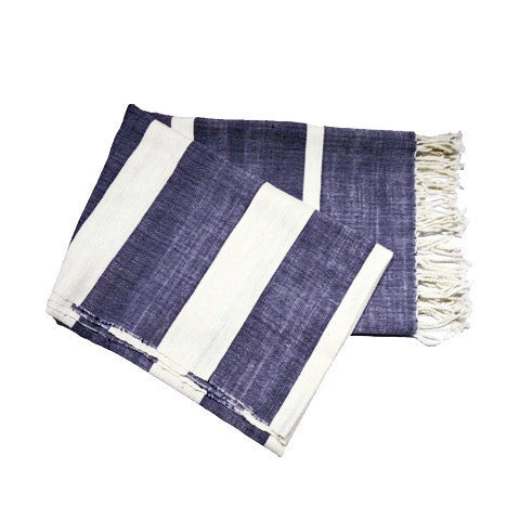 Kaamil Deep Blue Throw 100% Cotton