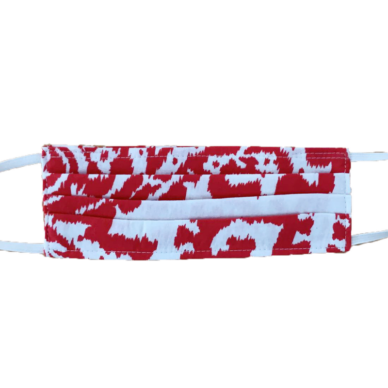 MASK ORGANIC COTTON - IKAT RED (PLEATED)