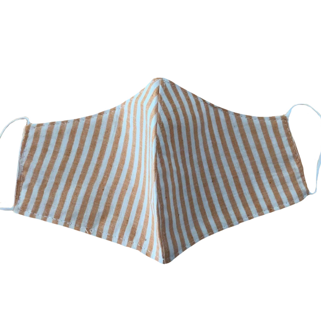 MASK ORGANIC COTTON - ORANGE AND WHITE STRIPES (PLAIN)