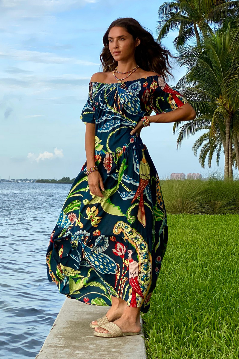 MOMPOSINA BIRD TROPICAL DRESS BLUE