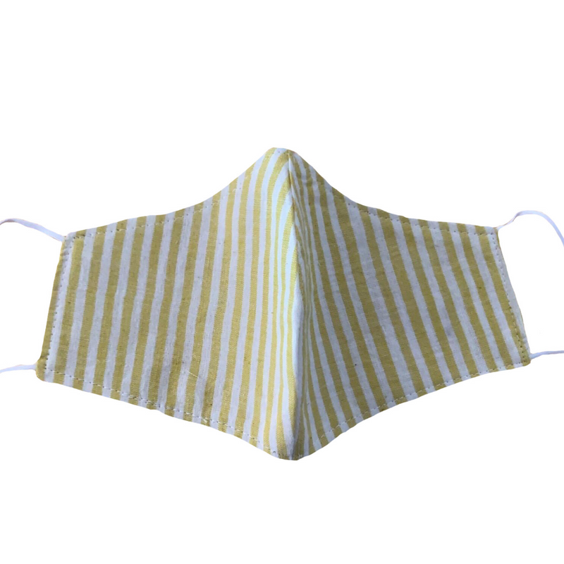 MASK ORGANIC COTTON - YELLOW & WHITE STRIPES (PLAIN)
