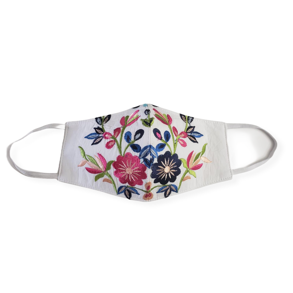 MASK ORGANIC COTTON HANDMADE - FLOWER NOEMI EMBROIDERED