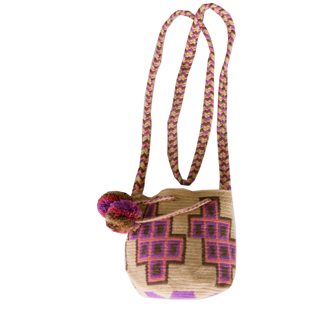 Small Wayuu Kids Mochila Bag - Beige