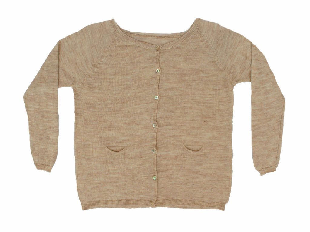 MIA COTTON KNIT CARDIGAN - TAUPE