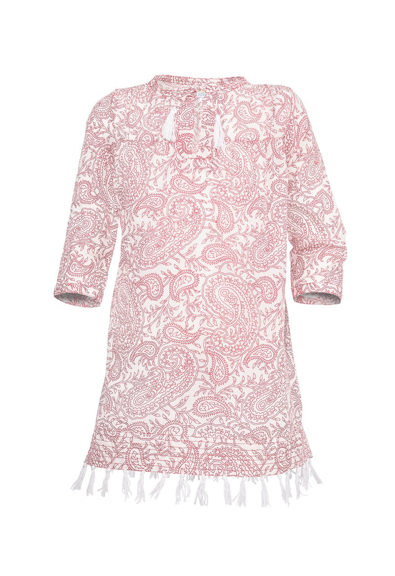 Ari Paisley 3/4 Sleeve Tunic - Red