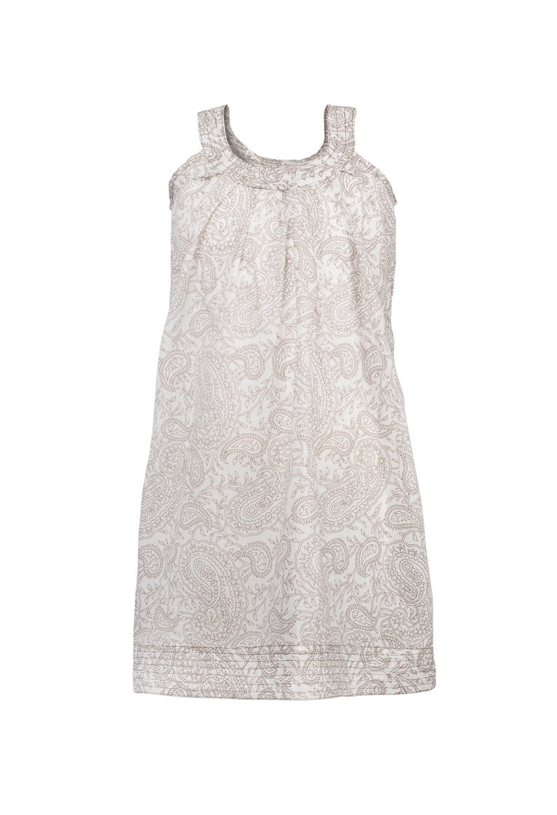 Ana Paisley Sleeve-less Dress - Beige