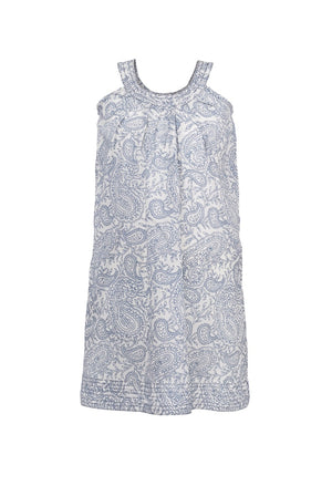 Ana Paisley Sleeve-less Dress - Blue