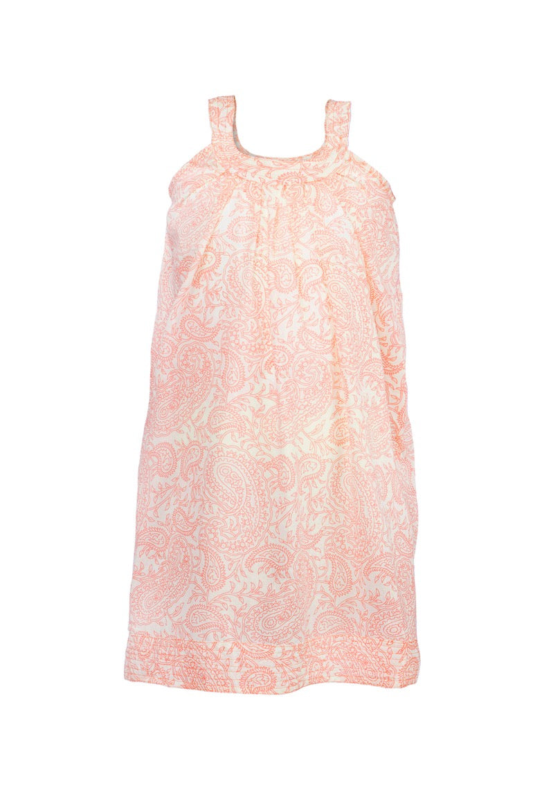 Ana Paisley Sleeve-less Dress - Orange