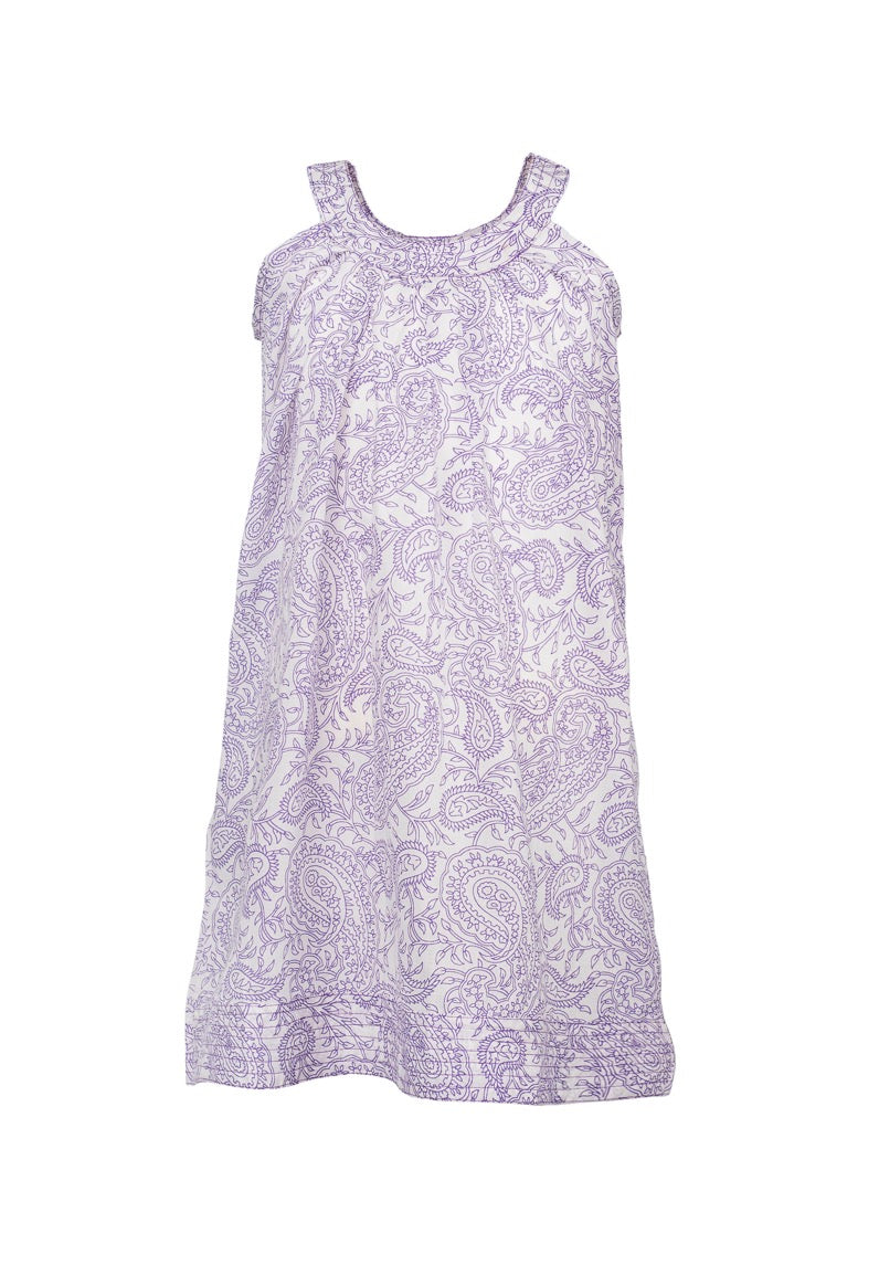 Ana Paisley Sleeve-less Dress - Purple