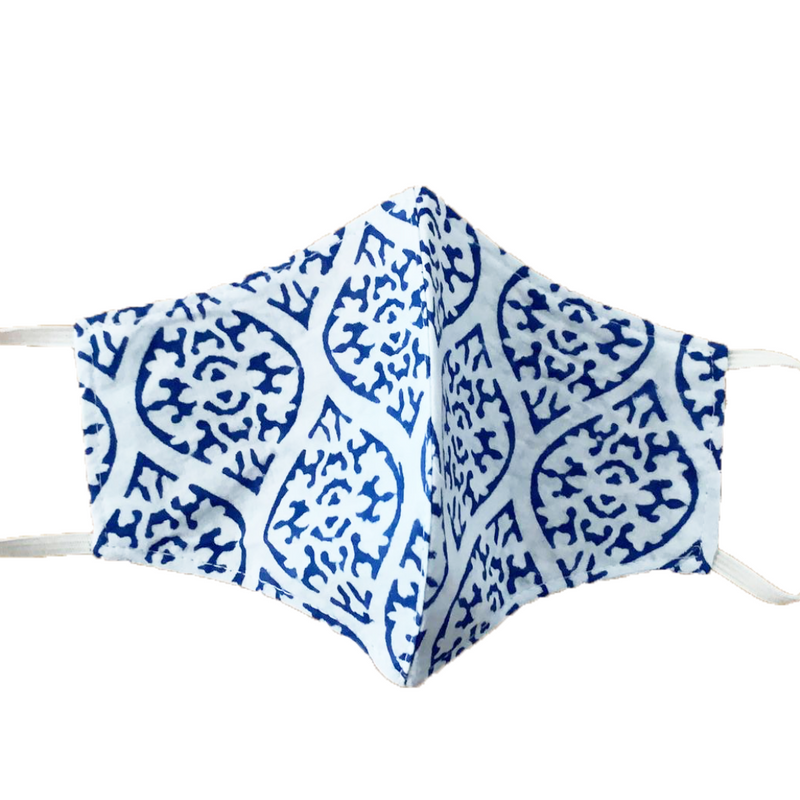 MASK ORGANIC COTTON - TIBET WHITE & BLUE (PLAIN)