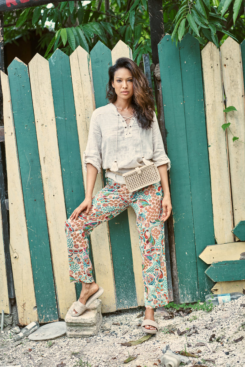 ROMANIA PANTS BEIGE & MULTI