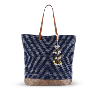 Deka Straw Tote - Navy Blue