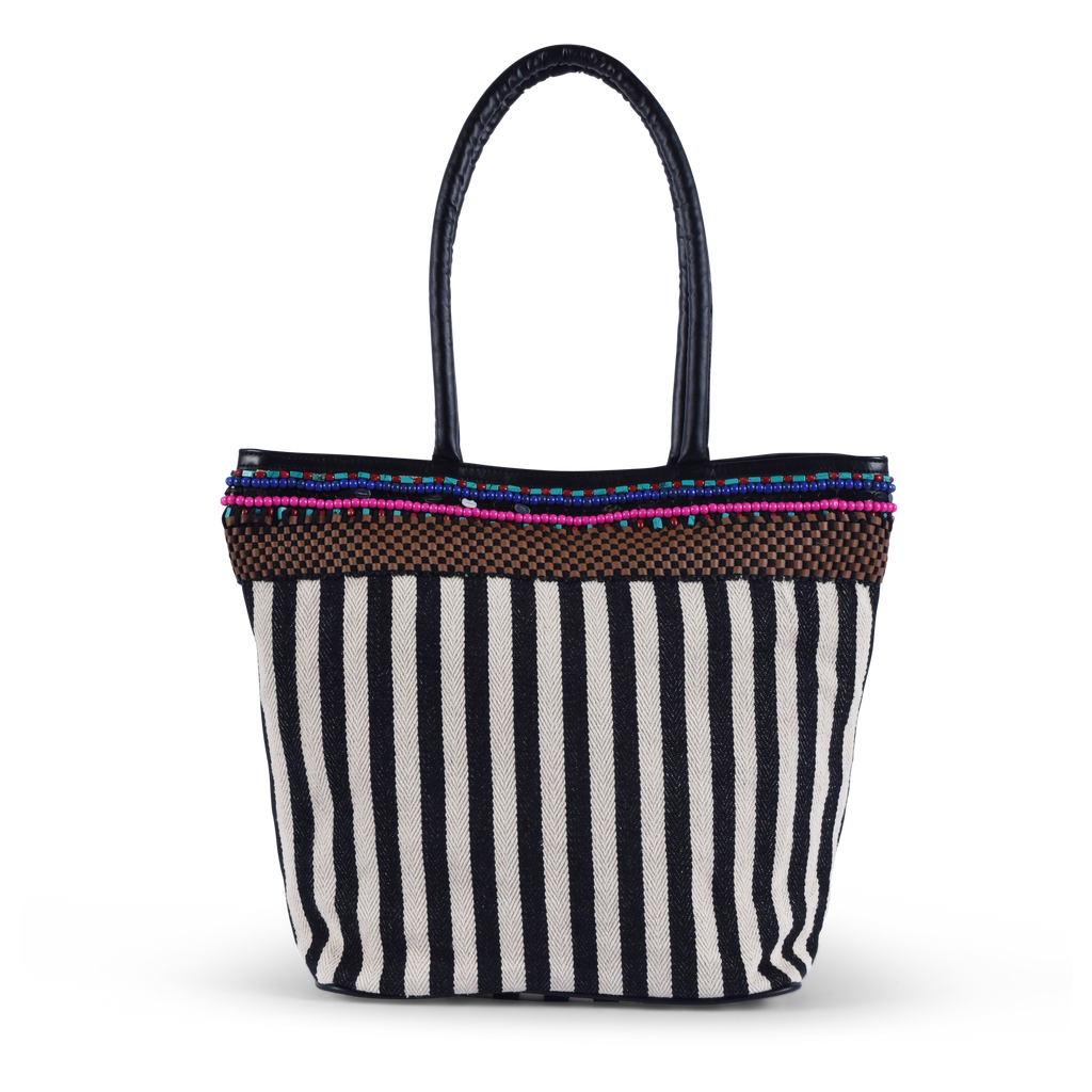 Ife Stripes Tote - Black / White