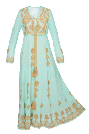 ISADORA LONG TUNIC MINT & GOLD