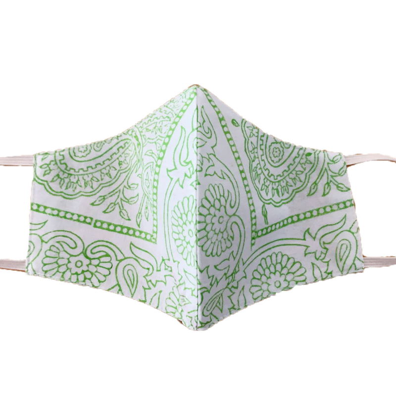 MASK ORGANIC COTTON GREEN PAISLEY -  (PLAIN)