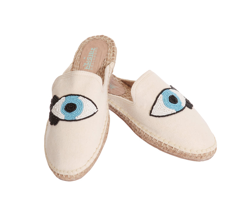 EVIL EYE ESPADRILLES - NATURAL